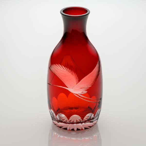 徳利 富士と鶴 赤