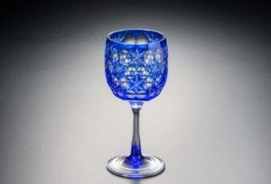 ワイングラス 雪の結晶 瑠璃