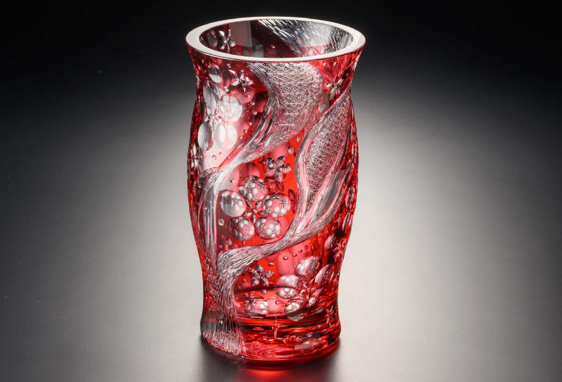 万華鏡~春の訪れ~ 金赤 クリスタルガラス
