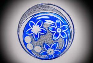 月下水桜 瑠璃 クリスタルガラス