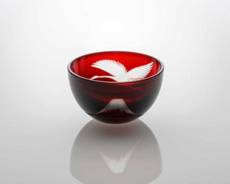 平盃 富士と鶴 赤
