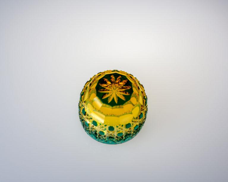 猪口 八角籠目華やぎ 緑/琥珀