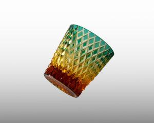 オールド 竹編み 緑/琥珀